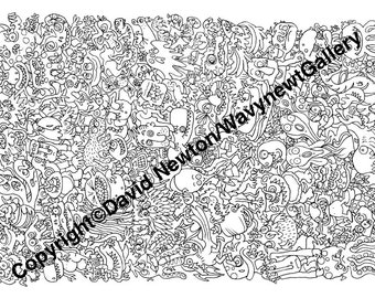 6. Instant PDF Download Hand Drawn Zentangle Inspired 'Mindjunk' Coloring Colouring Page Abstract Zendoodle Black and White Drawing