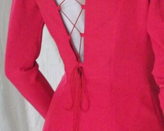 womans red dress, longsleeved dress, red dress, red long dress, long dress