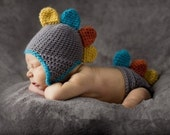 Baby Boy | Baby Girl Crochet Dinasour Outfit Hat Set Photo Props - blue | pink costume