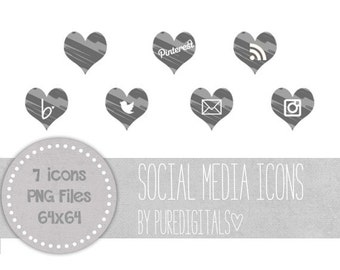 Grey Social Media Icons, Hearts Social Media Buttons, Cute Social Media Buttons, Grey Blog Buttons, Website Icons