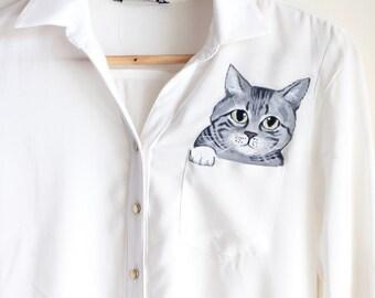 Custom pet portrait in a pocket of shirt  women unique shirt  your pet portrait clothing crazy cat lovers