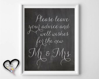 Please Leave Your Advice and Well Wishes. Wedding Advice Sign. Bride and Groom Advice Cards and Sign. Marriage Advice Sign.