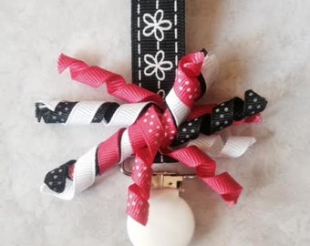 Pacifier Clip - Hot Pink and Black Curly ribbon Pacifier Clip - Baby Gift, Paci Holder, Binky Saver