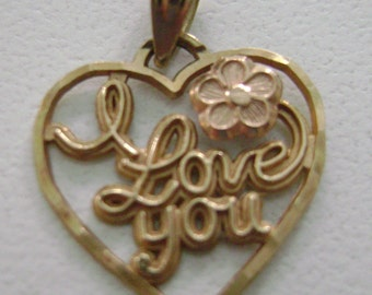 10k gold I love you Pendant or Charm