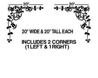 "20"" Floral Corner Ornaments Wall Decals sticker window art room decor graphics  GA15.20.2"