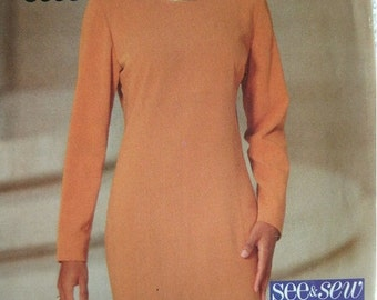 Misses Misses Petite Dress Size 18-20-22 See & Sew by Butterick Vintage 1994 UNCUT Pattern Rated EASY to Sew.