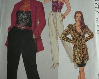 Misses Unlined Jacket, Bustier, Skirt and Pants Size 12 McCalls Petite-Able Pattern 5717 UNCUT 1991