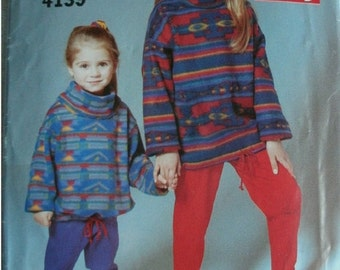 Girls Top and Leggings Girls Sizes 7-8-10-12-14 Butterick See & Sew Pattern 4139 Rated Very Easy to Sew UNCUT 1995