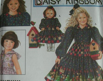 "Girls Dress and Doll Dress for 18"" Doll Girls Sizes 3-4-5-6 Simplicity Daisy Kingdom Pattern 8260 UNCUT Pattern Dated 1998"