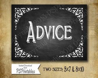 Chalkboard style ADVICE wedding sign - DIY Printable - Elizabeth Collection