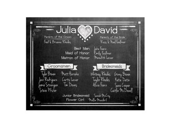 Wedding Bridal Party Sign - Chalkboard Design - Rustic Collection - PRINTABLE