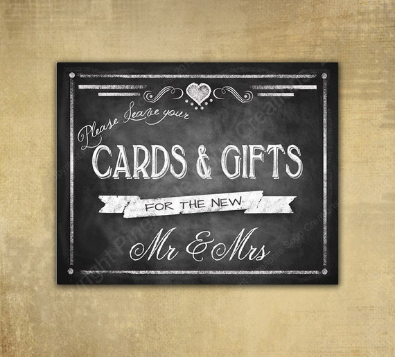 printable wedding chalkboard cards  u0026 gifts sign by