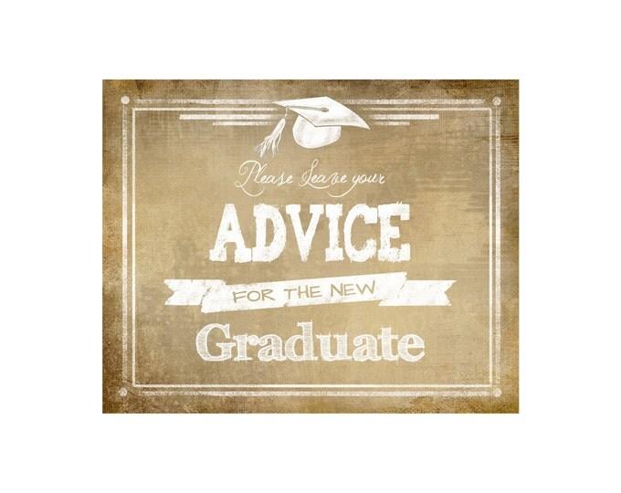 Please leave your ADVICE for the Graduate digital download - Graduation Sign - Vintage Graduation Collection