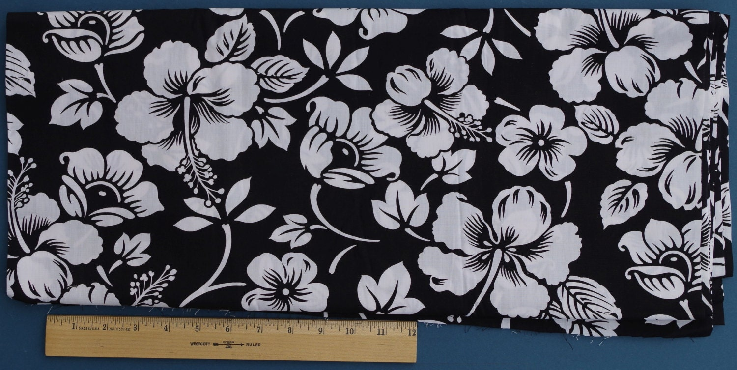 Black and White Hawaiian Print Fabric
