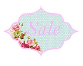"Shabby Chic Pink Roses Plaque ""Sale"" Image for Sellers Listings"