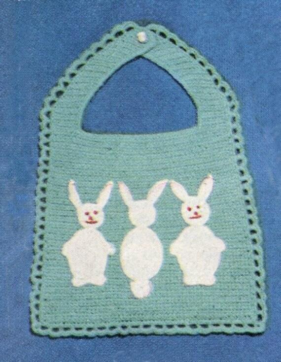 Crochet Cotton Baby Bib Pattern : Instant Download Crochet Pattern BUNNY by KenyonDownloadBooks