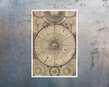 "Science art - Wright's Celestial Map of the Universe (1742) astronomy educational poster - 13""x19"" 32.9x48.3 cm recovered image"