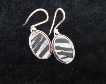 Greek Pebble Earrings Black and White Pebble Jewelry Beachstone Silver Earrings Pebble Handmade Sterling Silver Jewelry Handcut