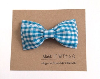 Teal Gingham Bow tie