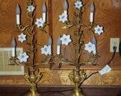 RESERVED YVETTE Vintage Large Pair of Art Nouveau Cast Brass or Bronze & Ceramic Flowered Candelabras  mid century