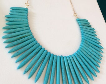 Turquoise Spike Necklace, Gemstone Statement Necklace, Chunky Necklace, Gold Necklace, Jewelry by RJ, Trending Items, Gift Ideas