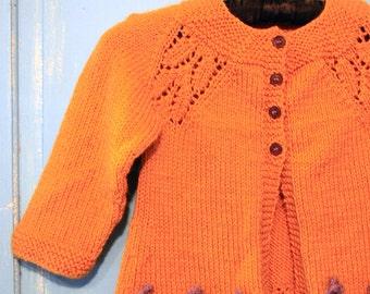 Girls Mustard Knitted Cardigan Sweater Toddler 3T - 4T