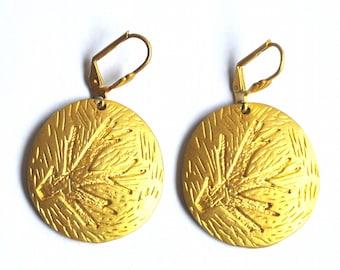 Vintage Gold Earrings - Abstract Earrings, Golden Metal Dangles - Vintage Jewelry