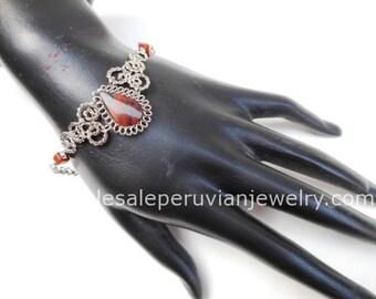Brown Tiger's Eye Teardrop Alpaca Silver Curls Bracelet Peruvian Jewelry - Handmade in Peru