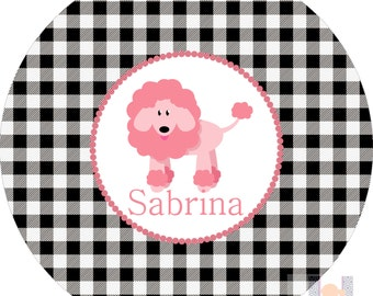 Personalized pink girls poodle dog and black gingham plate! A custom, fun and UNIQUE gift idea! Custom colors available!!