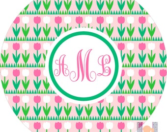 Monogrammed Girls Tulip Pink and Green Plate! A custom, fun and UNIQUE gift idea! Kids love eating on plates with their names on them!