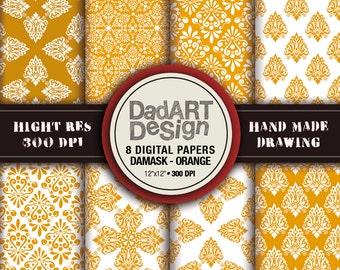 Golden damask patterns, 8 sheets digital paper pack, hi res files, instant download