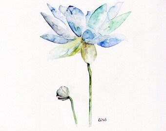 "SALE 35% off Original - Original Watercolor Painting,""Lotus"", Blue Flower, Garden"