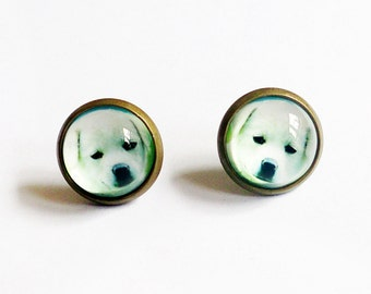Baby White Dog Earrings, Dogs Stud Earrings, White LIttle Puppy Stud Earrings, Dog Earrings, Cute Puppy, Dog Photo, Round Stud Earrings