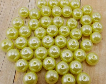 6mm Glass Pearls - Lime Green - 75 pieces