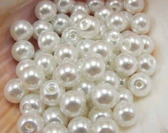10mm Glass Pearls - Snow White - 40 pieces