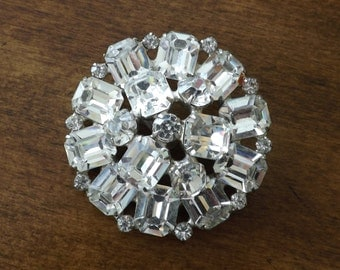 Rhinestone Brooch Large And Beautiful Clear And Brilliant Shine