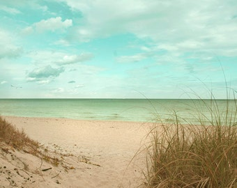 Beach Path to Atlantic Ocean Beach Sand  Dunes Ocean Photography Green