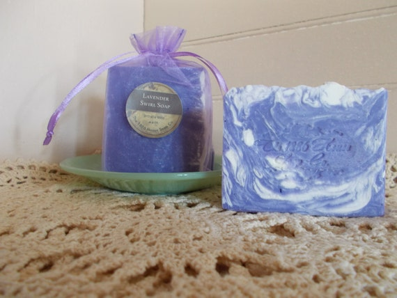 Handcrafted Lavender Swirl Soap  -  4+ oz. bar -  Made in Maine