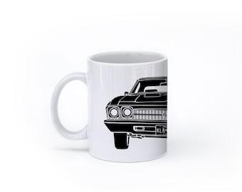KillerBeeMoto:  U.S. Made Coffee Mug Limited Release American Engineered Muscle Car Hot Rod Front View Coffee Mug (White)