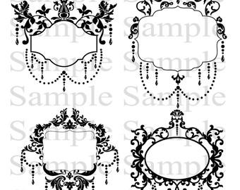 Vintage Flourish Frames INSTANT DOWNLOAD Clip Art Digital Flourishes DIY Wedding Invitations Ornamental Frames Banners