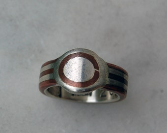 COPPER & SILVER RING - Architectural - Copper Ring-Craftsman Style Ring - Wedding Band - One of a Kind Ring