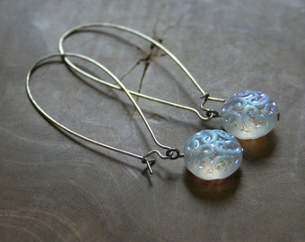 Icecrystals - one of a kind pair of long dangling earrings in iridescent white glass beads
