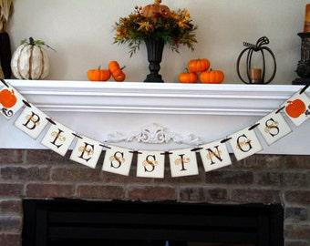 Blessings Banner • Thanksgiving Garland • Thanksgiving Banner • Fall Banner • Fall Decor • Fall Decoration • Thanksgiving Decor