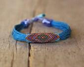 Tribal bracelet, blue linen bracelet, colorful ethnic bracelet, organic jewelry, multistrand bracelet, natural gift for her, christmas gift