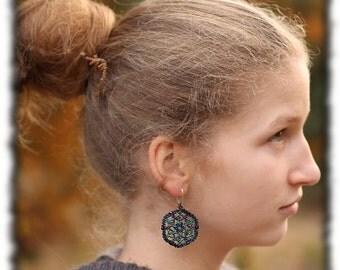Beadwoven earring - very light earrings - lacy earring - shiny earrings - delicate jewelry - for her - 2014 trends - feminine