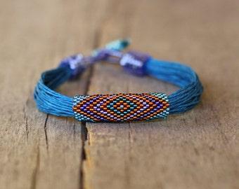 Tribal bracelet, blue linen bracelet, natural gift for her, colorful ethnic bracelet, organic jewelry, multistrand bracelet, naryajewelry