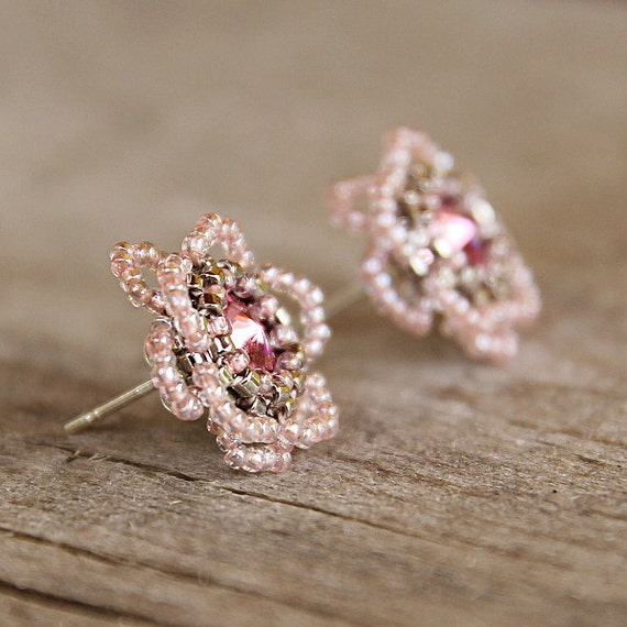 Tiny flower seed beads earring flower earrings pink for Gemsprouts tiny plant jewelry