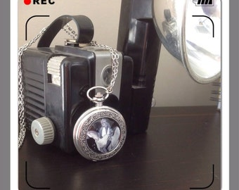 Special Vintage Watch retro of Marilyn Monroe pendant necklace chain large silver pocket watch