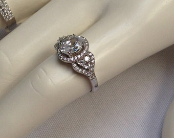 Halo Engagement Ring - Splint Shank Engagement Ring - Cubic Zirconia Promise Ring - Sterling Silver Ring - CZ Solitaire Ring