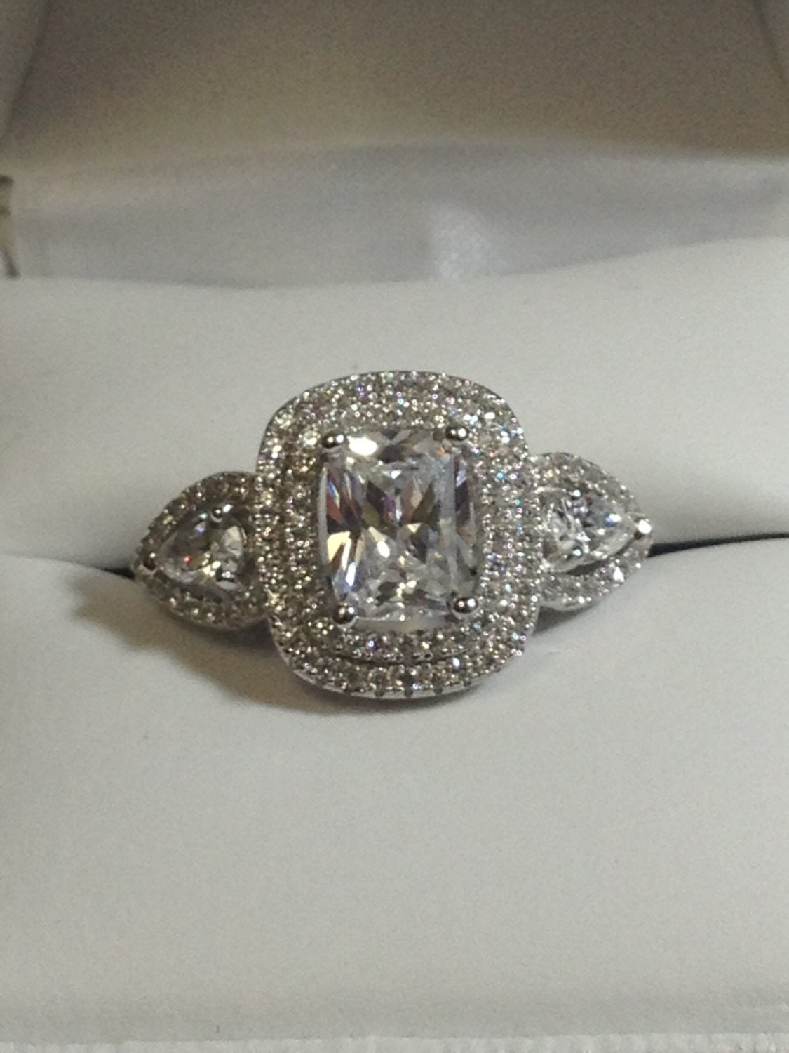 Halo Engagement Ring Cushion Cut About 1 5 Carat Cubic